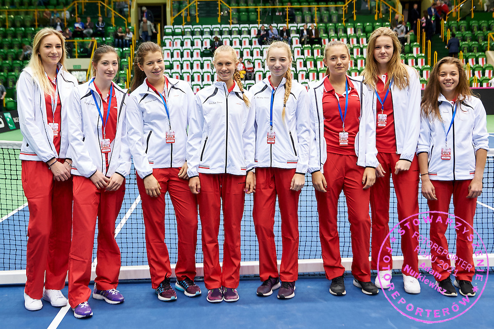 INOWROCLAW, POLAND - 2016 APRIL 16: (L-R) Wiktoria Rutkowska and Julia Oczachowska and Weronika Falkowska and Stefania Rogozinska and Anna Hertel and Weronika Pociej and Martyna Kubka Maja Chwalinska all from Polich Future Fed Cup Team pose to the picture during the Fed Cup / World Group Play Off round tennis match between Poland and Chinese Taipei at OSiR Hall on April 16, 2016 in Inowroclaw, Poland.<br /> <br /> Picture also available in RAW (NEF) or TIFF format on special request.<br /> <br /> Any editorial, commercial or promotional use requires written permission.<br /> <br /> Adam Nurkiewicz declares that he has no rights to the image of people at the photographs of his authorship.<br /> <br /> Mandatory credit:<br /> Photo by &copy; Adam Nurkiewicz / Mediasport