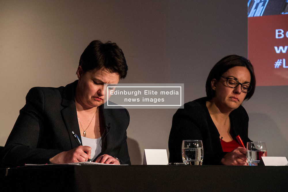 Pictured: Ruth Davidson and Kezia Dugdale<br /> <br /> Party leaders Nicola Sturgeon, Kezia Dugdale, Ruth Davidson, Willie Rennie and Patrick Harvie faced questions from the public at an LGBTI election hustings event arranged by Stonewall Scotland, LGBT youth Scotland, Equaity Network and The Scottish Equality Network at the Royal College of Surgeons of Edinburgh. Edinburgh. 31 March 2016<br /> <br /> Ger Harley | Edinburghelitemedia.co.uk