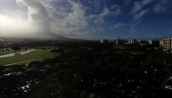 West Maui Mountains and Kaanapali Golf Course and Resorts, Maui, Hawaii, US