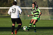Forest Green Rovers Kayla Garland(11) plays the ball forward during the South West Womens Premier League match between Forest Greeen Rovers Ladies and Marine Academy Plymouth LFC at Slimbridge FC, United Kingdom on 5 November 2017. Photo by Shane Healey.