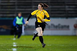 Assistant Referee Claire Hodnett (pictured before she takes charge of the match as Referee) - Mandatory byline: Rogan Thomson/JMP - 28/12/2015 - RUGBY UNION - The Recreation Ground - Bath, England - Bath United v Bristol United - Aviva A League.