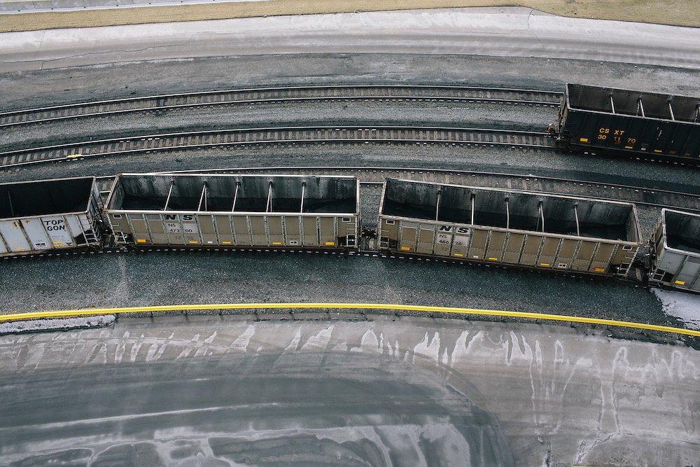 Unloaded train cars re-coupled wait for inspection at Consol Energy's Balitmore Terminal on March 6, 2014. About 40,000 tons of coal is unloaded at the facility daily.