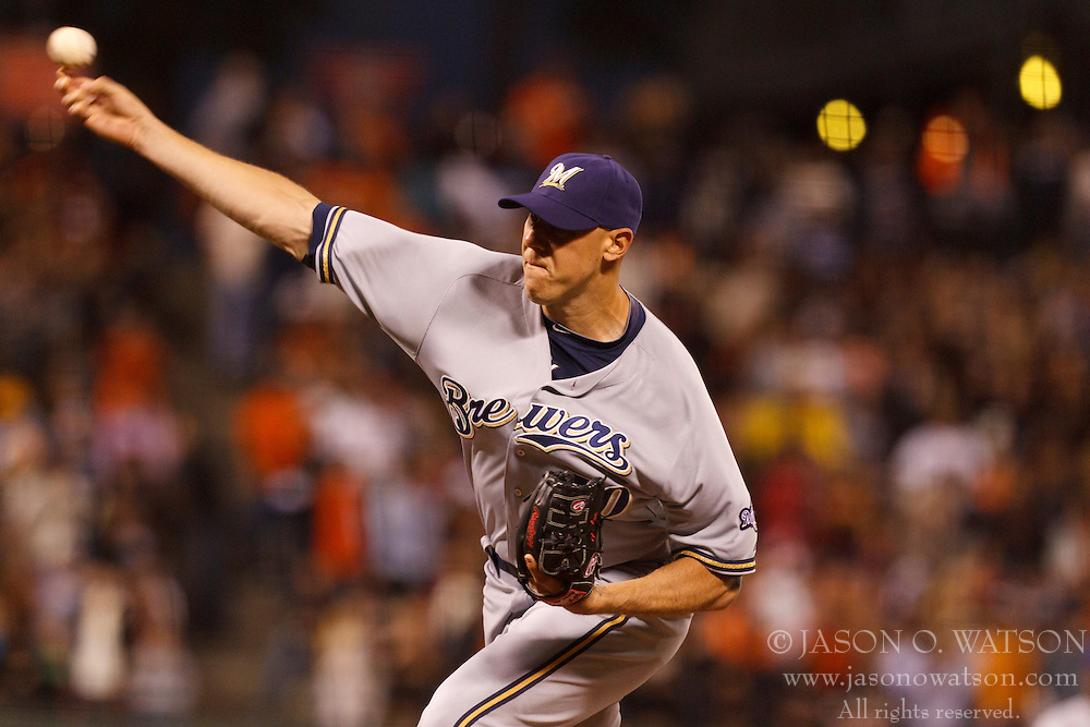 July 23, 2011; San Francisco, CA, USA;  Milwaukee Brewers relief pitcher Kameron Loe (50) pitches against the San Francisco Giants during the eighth inning at AT&T Park.