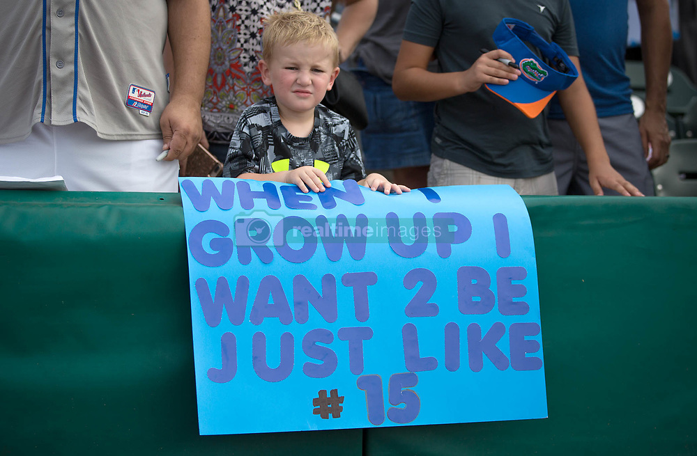 July 7, 2017 - Jupiter, Florida, U.S. - Maddox Noditchkod, 3, Orlando, holds a sign at Roger Dean Stadium in Jupiter, Florida on July 7, 2017. (Credit Image: © Allen Eyestone/The Palm Beach Post via ZUMA Wire)