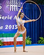 Arianna Leoni atleta della Società Gymnica 96 di Forlì durante la seconda prova del Campionato Italiano di Ginnastica Ritmica.<br /> La gara si è svolta a Desio il 31 ottobre 2015.