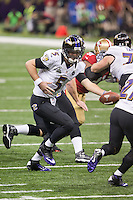 3 February 2013: Quarterback (5) joe Flacco of the Baltimore Ravens hands the ball off against the San Francisco 49ers during the first half of the Ravens 34-31 victory over the 49ers in Superbowl XLVII at the Mercedes-Benz Superdome in New Orleans, LA.