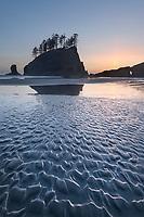 Second Beach at sunset, Olympic National Park near La Push Washington
