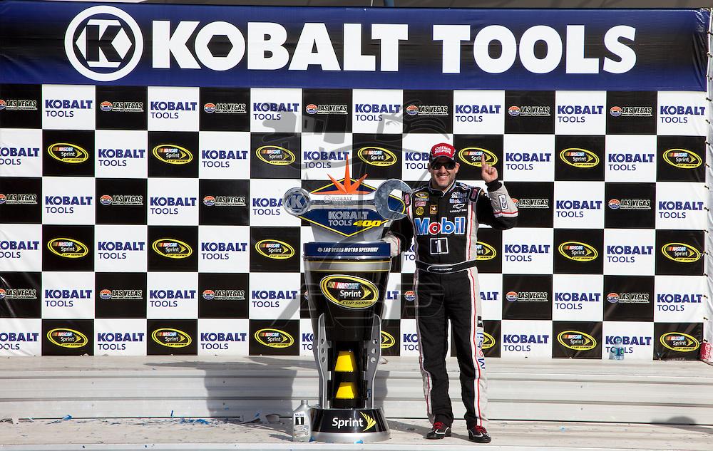 LAS VEGAS, NV  - MAR 11, 2012:  Tony Stewart (14) wins the Kobalt Tools 400 race at the Las Vegas Motor Speedway in Las Vegas, NV.