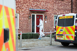 © Licensed to London News Pictures. 02/02/2016. Allerton Bywater UK. Picture shows Police at a property on Beeston Way in Allerton Bywater where it is believed three bodies have been discovered thought to be that of a woman and two children.  Photo credit: Andrew McCaren/LNP