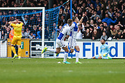 Bristol Rovers Billy Bodin(23) scores a goal 3-3 and celebrates during the EFL Sky Bet League 1 match between Bristol Rovers and Millwall at the Memorial Stadium, Bristol, England on 30 April 2017. Photo by Shane Healey.