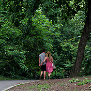 Couple on a path towards the Sailboat Pond