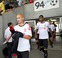 ZUG, SWITZERLAND - Wednesday, July 21, 2010: Liverpool's Jonjo Shelvey before the Reds' first preseason match of the 2010/2011 season against Grasshopper Club Zurich at the Herti Stadium. (Pic by David Rawcliffe/Propaganda)