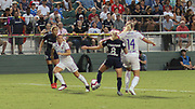North Carolina Courage midfielder Denise O'Sullivan (8) and Olympique Lyonnais forward Ada Hegerberg (14) fight for possession of the ball during an International Champions Cup women's soccer game, Sunday, Aug. 18, 2019, in Cary, Olympique Lyonnais bested the North Carolina Courage 1-0 in the finals.  (Brian Villanueva/Image of Sport)