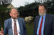 Dr Ian Wilmut (left) and Dr Harry Griffin, two of the scientists behind the development of Dolly (pictured), the first genetically copied sheep, at Roslin Institute near Edinburgh where they work. Dolly was a female domestic sheep, and the first mammal cloned from an adult somatic cell, using the process of nuclear transfer. The photographs taken by Colin McPherson this day were the last before Dolly was euthanised  on 14 February 2003 because she had a progressive lung disease and severe arthritis.