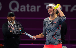 February 14, 2019 - Doha, QATAR - Elise Mertens of Belgium celebrates winning her quarter-final match at the 2019 Qatar Total Open WTA Premier tennis tournament (Credit Image: © AFP7 via ZUMA Wire)