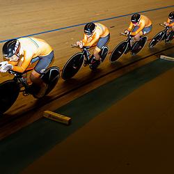 Apeldoorn (NED) baanwielrennen<br />Amber van der Hulst, Mylene de Zoete, Benthe van Teeseling en Kirstie van Haaften veroverden zondag de Nederlandse titel op de ploegachtervolging in Apeldoorn bij de vrouwen