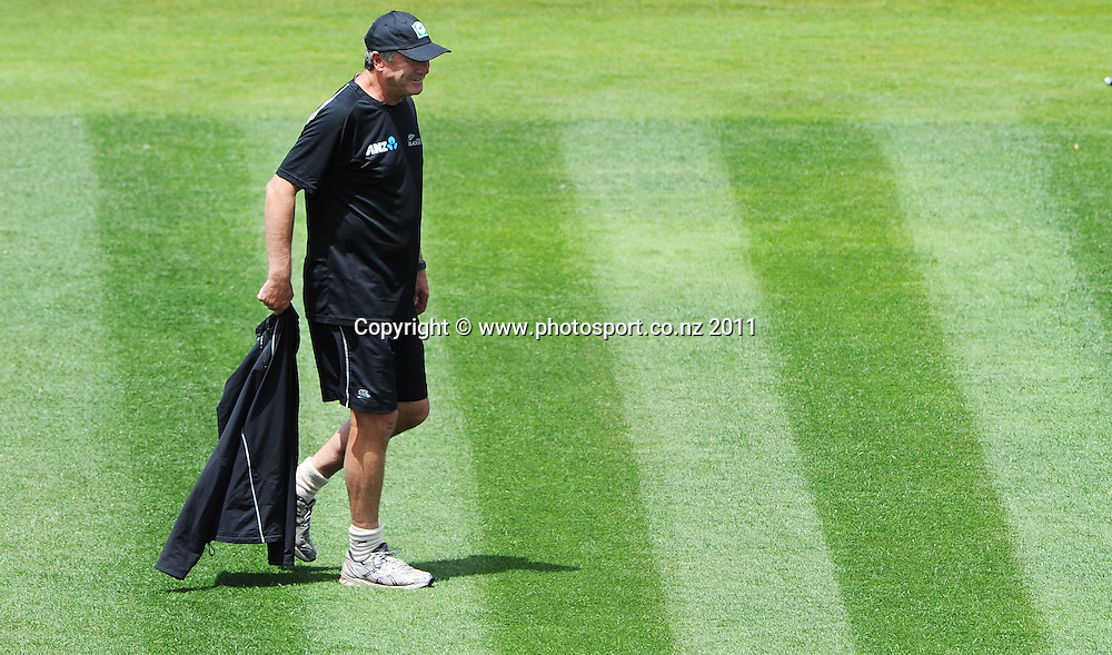 John Wright ahead of the second cricket test match versus Australia in Hobart. Thursday 8 December 2011. Photo: Andrew Cornaga/Photosport.co.nz