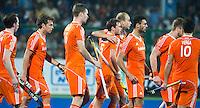 RAIPUR (India) . 'Vreugde' bij Oranje   tijdens   de wedstrijd om de derde plaats  tussen  de mannen van Nederland en India  in de finaleronde van het  Hockey World League .  Nederland verliest na shoot-outs.   COPYRIGHT  KOEN SUYK