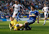 Photo: Steve Bond/Richard Lane Photography. Leicester City v Carlisle United. Coca Cola League One. 04/04/2009. Matty Fryatt's shot is saved by Ben Williams