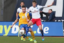 Football: Germany, 1. Bundesliga, Braunschweig, 15.02.2014<br />Ivo Ilicevic (Hamburger SV) Ermin Bicakcic (Eintracht Braunschweig)<br /> copyright: pixathlon