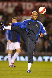 Manchester, England - Tuesday, March 13, 2007: Europe XI's El-Hadji Diouf warms-up before the UEFA Celebration Match against Manchester United at Old Trafford. (Pic by David Rawcliffe/Propaganda)