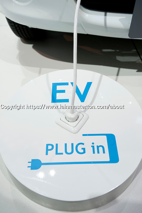Detail of electric plug for recharging concept electric Subaru R1e vehicle at the Frankfurt Motor Show 2009