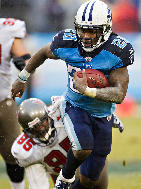 NASHVILLE, TN - NOVEMBER 27:   Chris Johnson #28 of the Tennessee Titans performs runs the ball against the Tampa Bay Buccaneers at LP Field on November 27, 2011 in Nashville, Tennessee.  The Titans defeated the Buccaneers 23 to 17.  (Photo by Wesley Hitt/Getty Images) *** Local Caption ***  Chris Johnson