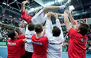 Jerzy Janowicz with his teammates celebrates victory on third day of the BNP Paribas Davis Cup 2013 between Poland and South Africa at MOSiR Hall in Zielona Gora on April 07, 2013...Poland, Zielona Gora, April 07, 2013..Picture also available in RAW (NEF) or TIFF format on special request...For editorial use only. Any commercial or promotional use requires permission...Photo by © Adam Nurkiewicz / Mediasport