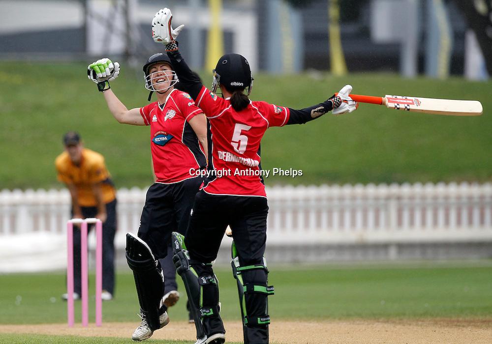 Canterbury Magicians Erin Bermingham and Amber Boyce celebrate their win, Action Cricket Twenty20 Final, Blaze v Magicians. Basin Reserve, Wellington. Saturday 5 February 2011. Photo: Anthony Phelps/PHOTOSPORT