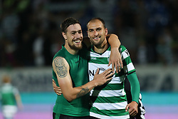 September 8, 2017 - Santa Maria Da Feira, Aveiro, Portugal - Sporting's Uruguayan defender Sebastian Coates (L) and Sporting's Netherlands forward Bas Dost (R) celebrates the victory in the game during the Premier League 2017/18 match between CD Feirense and Sporting CP, at Marcolino de Castro Stadium in Santa Maria da Feira on September 8, 2017. (Credit Image: © Dpi/NurPhoto via ZUMA Press)