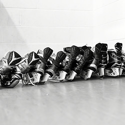 TORONTO, ON - SEP 18,  2016: Ontario Junior Hockey League game between Buffalo and Toronto, Toronto Jr. Canadiens blades lined up and waiting.<br /> (Photo by Andy Cornea / OJHL Images)
