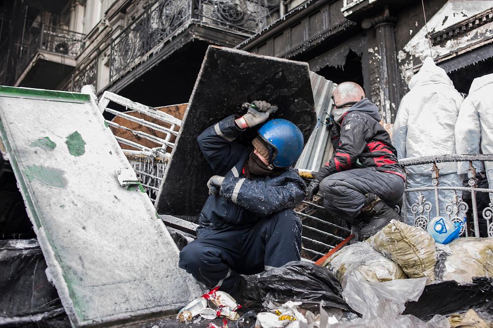 January 25, 2014 - Kiev, Ukraine: Anti-government protestors continue to demonstrate outside the Dynamo Kiev stadium near the Independence Square in central Kiev.