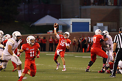 03 September 2016:  Jake Kolbe lets go a pass to Spencer Schnell. NCAA FCS Football game between Valparaiso Crusaders and Illinois State Redbirds at Hancock Stadium in Normal IL (Photo by Alan Look)
