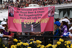 © Licensed to London News Pictures. 06/11/2012. A banner welcoming their Royal Highnesses, The Prince of Wales, Prince Charles and The Duchess of Cornwall Camilla Parker Bowles during the Emirates Melbourne Cup at the Flemington Racecourse, Melbourne. Photo credit : Asanka Brendon Ratnayake/LNP