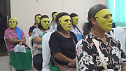 """Thai hospital gives masks to women embarrassed about getting Pap smear<br /> <br /> The women who received a free Pap smear test at a hospital in Kamphaeng Phet province last week didn't need to feel embarrassed about getting an absolutely normal medical check, because they could hide behind creepy green masks.<br /> <br /> This head-scratching initiative, called """"The Mask Pap Smear,"""" was started by Sa Kaew sub-district office and the Nong Krot Hospital, to decrease the awkwardness between the doctors and patients who are shy about getting a gynecological exam.<br /> <br /> The project was targeted at women aged 30-70.According to sub-district governor Suwan Supakijchareon, the initiative was successful because many women showed up to get free Pap smears, now that they could wear a mask and didn't need to let the doctors see their faces,<br /> ©TipcableTV/Exclusivepix Media"""