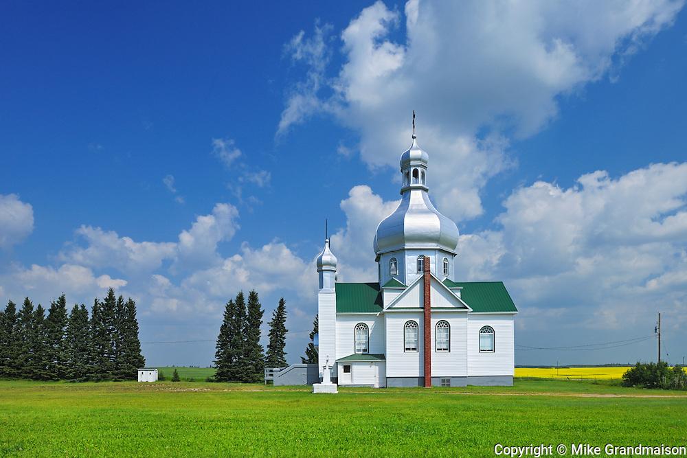 Saints Peter and Paul Orthodox Church on the prairie<br /> Insinger<br /> Saskatchewan<br /> Canada