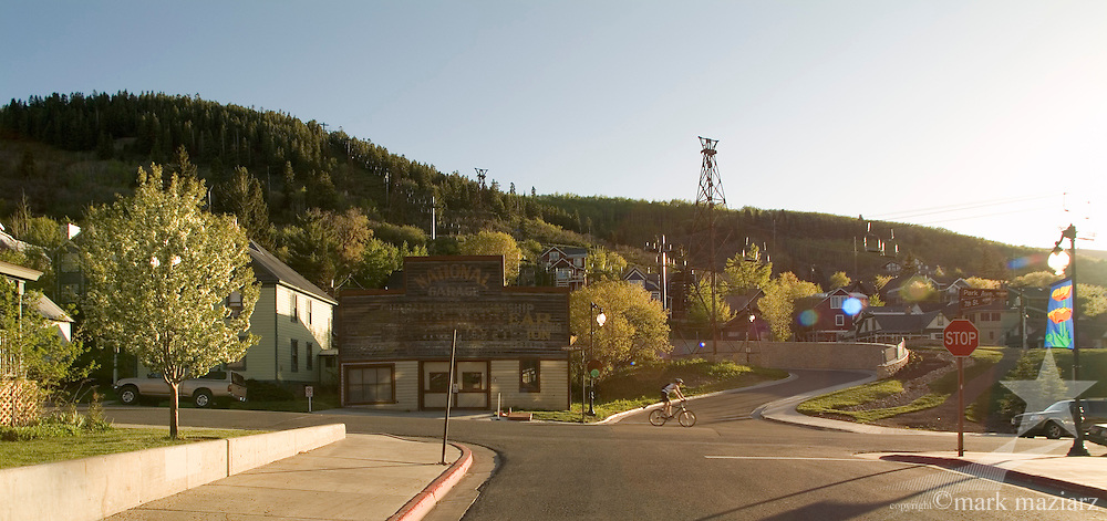 summer sunset of Park Ave and National Garage in Park City, UT USA