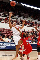 March 19, 2011; Stanford, CA, USA; Texas Tech Lady Raiders forward Kelsi Baker (41) shoots over St. John's Red Storm forward Da'Shena Stevens (3) during the second half of the first round of the 2011 NCAA women's basketball tournament at Maples Pavilion. St. John's defeated Texas Tech 55-50.