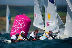 2012 Olympic Games London / Weymouth<br /> 470 men race course<br /> Brauchli Yannick, Hausser Romuald, (SUI, 470 Men)<br /> Belcher Mathew, Page Malcolm, (AUS, 470 Men)