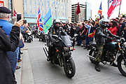 The bikers arrive during the Soldier F Protest at Media City, Salford, United Kingdom on 18 May 2019.