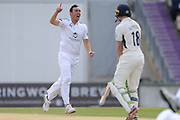 Kyle Abbott of Hampshire celebrates the wicket of Nick Gubbins of Middlesex during the Specsavers County Champ Div 1 match between Hampshire County Cricket Club and Middlesex County Cricket Club at the Ageas Bowl, Southampton, United Kingdom on 16 April 2017. Photo by David Vokes.