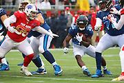 Jan 27, 2019; Orlando, FL, USA; NFC return specialist Tarik Cohen of the Chicago Bears (29) runs for yardage while AFC defensive tackle Kyle Williams of the Buffalo Bills (95) tries to make a tackle in the NFL Pro Bowl football game at Camping World Stadium.  The AFC beat the NFC 26-7. (Steve Jacobson/Image of Sport)