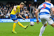 Ezgjan Alioski (10) of Leeds United crosses the ball during the The FA Cup 3rd round match between Queens Park Rangers and Leeds United at the Loftus Road Stadium, London, England on 6 January 2019.