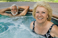Senior Couple in Hot Tub