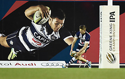 Bristol Rugby full back, Auguy Slowik touches down the ball against Plymouth Albion at Ashton Gate - Photo mandatory by-line: Paul Knight/JMP - Mobile: 07966 386802 - 01/01/2015 - SPORT - Rugby - Bristol - Ashton Gate - Bristol Rugby v Plymouth Albion - Greene King IPA Championship