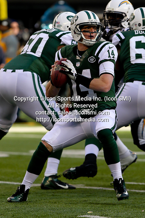 23 December 2012: New York Jets quarterback Greg McElroy (14) during a week 16 NFL matchup between the San Diego Chargers and New York Jets at MetLife Stadium in East Rutherford, New Jersey. The Chargers defeated the Jets 27-17.