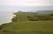 Rolling chalk countryside towards Belle Tout lighthouse, Beachy Head, east Sussex, England
