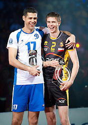Amaral Dante of Dinamo and Mariusz Wlazly of Belchatow at final ceremony after the  final match of CEV Indesit Champions League FINAL FOUR tournament between Dinamo Moscow, RUS and Trentino BetClic, ITA on May 2, 2010, at Arena Atlas, Lodz, Poland. Trentino defeated Dinamo 3-0 and became Winner of the Champions League. (Photo by Vid Ponikvar / Sportida)
