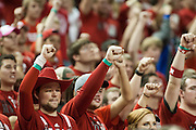 November 8, 2013: Husker student holding up a fist during a throw attempt during the game against the Florida Gulf Coast Eagles at the Pinnacle Bank Areana, Lincoln, NE. Nebraska defeated Florida Gulf Coast 79 to 55.