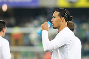Netherlands defender Virgil van Dijk (4) during the warm up ahead of the UEFA European 2020 Qualifier match between Northern Ireland and Netherlands at National Football Stadium, Windsor Park, Northern Ireland on 16 November 2019.